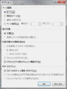 Microsoft Word 2013のPDF保存用のオプション指定ダイアログ