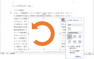 文字列の折り返しのオプション「文字列と一緒に移動する」「ページ上の位置を固定」