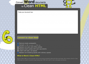 Convert Word documents to Clean HTML のトップ画面